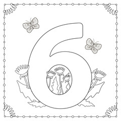 Numeral Six with flowers, leaves and butterflies. Coloring page.