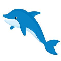 Vector Cute Cartoon Dolphin