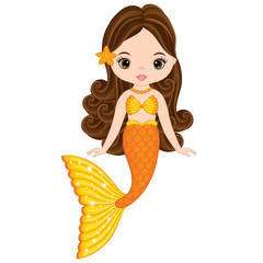 Vector Cute Little Mermaid Swimming