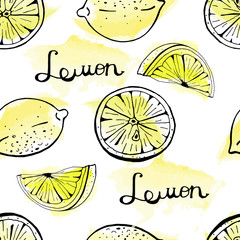 Seamless vector pattern of hand drawn lemon and lemon slices on watercolor background.