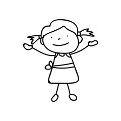 hand drawing abstract happy cute girls line art