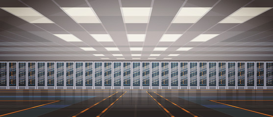 Data Center Room Hosting Server Computer Information Database Synchronize Technology Flat Vector Illustration