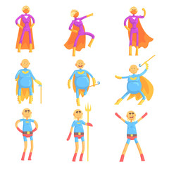 Funny elderly men in superman costume, old superhero in action cartoon characters set of vector Illustrations