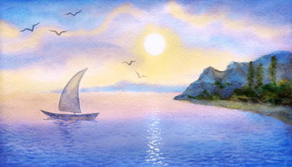 Sailboat on the  sea meets the sun