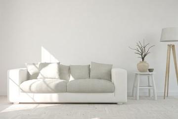 Idea of white modern room with sofa. Scandinavian interior design. 3D illustration