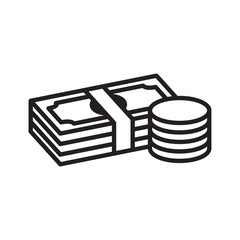 Money bill and coin line icon