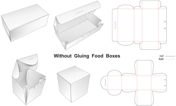 Without Gluing Food Paper Boxes