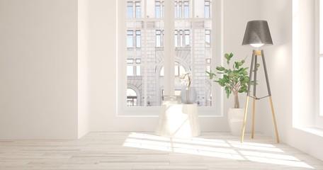 Idea of white empty room with urban landscape in window. Scandinavian interior design. 3D illustration