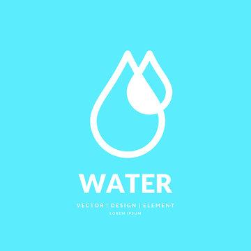 Modern line vector logo of the water drop.