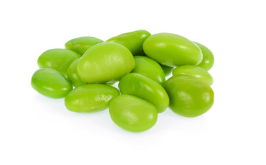 Pile of Ripe green soy beans isolated on white background.