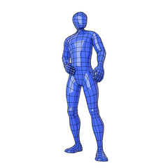 Wireframe human figure standing and posing