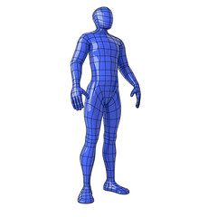 Wireframe human figure standing and looking up