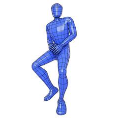 Wireframe human figure sitting