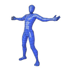 Wireframe human figure open arms
