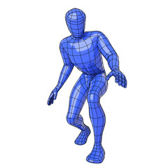 Wireframe human figure crouched down