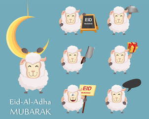 Festival of sacrifice Eid al-Adha. Traditional muslin holiday. Set of funny sheep.