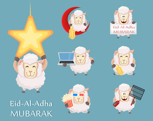 Festival of sacrifice Eid al-Adha. Traditional muslin holiday. Set of funny sheep with various things.