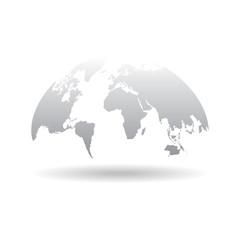 World map globe isolated on white background Vector. Unique world map shape.