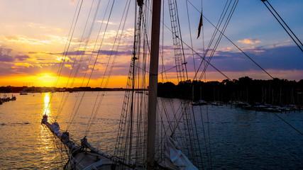 Hanse Sail, Stadthafen, Rostock, Sonnenuntergang, Blick vom Riesenrad