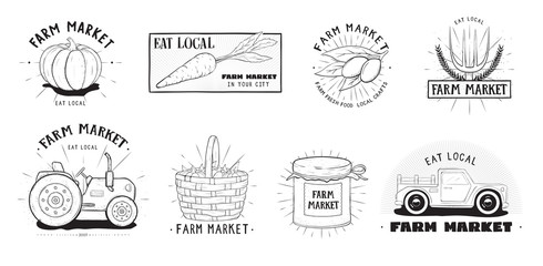 Fresh food labels set. Farm market various logo collection. Hand drawn vector illustration on white background.