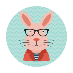 Hipster Rabbit with Glasses