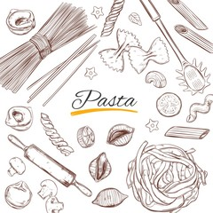Italian Pasta frame. Different types of pasta. Vector hand drawn illustration. Isolated objects on white. Sketch style