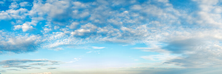 Vibrant color panoramic sky with cloud on a cloudy day. Beautiful cirrus cloud. Panorama high resolution photograph.