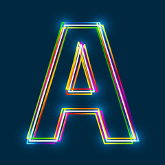 Greek Capital Letter Alpha. Multicolor outline font with glowing effect on blue background. Vector EPS10