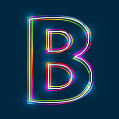 Greek Capital Letter Beta. Multicolor outline font with glowing effect on blue background. Vector EPS10