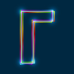 Greek Capital Letter Gamma. Multicolor outline font with glowing effect on blue background. Vector EPS10