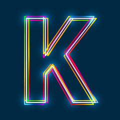Greek Capital Letter Kappa. Multicolor outline font with glowing effect on blue background. Vector EPS10