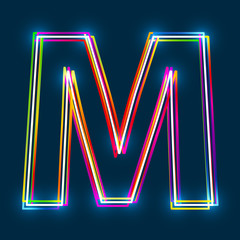 Greek Capital Letter Mu. Multicolor outline font with glowing effect on blue background. Vector EPS10