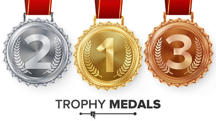 Winner Gold, Silver, Bronze Medals Set Vector. Metal Realistic Badge With First, Second, Third Placement Achievement. Round Label With Red Ribbon. Competition Golden, Silver, Bronze Trophy