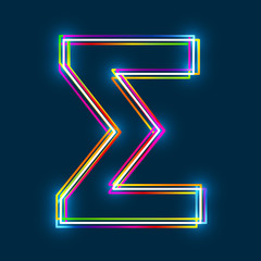Greek Capital Letter Sigma. Multicolor outline font with glowing effect on blue background. Vector EPS10