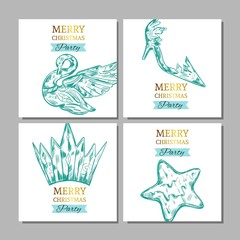 Merry Christmas banners with collection of ice figures . Vector illustration. Isolated objects
