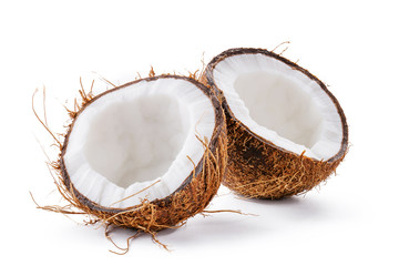 Coconut on a white background. Half of coconut.