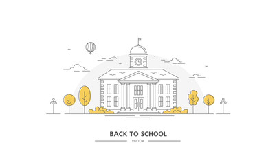 Back to school. Building with trees. Line art. Vector illustration. Poster and banner on Education