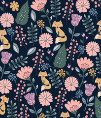 Colorful floral pattern with a fox on a dark background