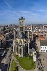 Saint Nicholas' Church and city skyline, Ghent, East Flanders, Belgium