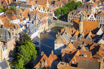 Belgium, West Flanders (Vlaanderen), Bruges (Brugge). High-angle view of Bruges, buildings near the Dijver canal, view from the Belfort belltower.