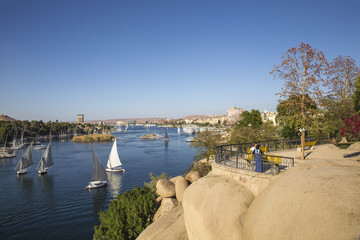 Egypt, Upper Egypt, Aswan, View of Fryal Garden and River Nile