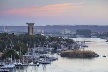Egypt, Upper Egypt, Aswan, View of Movenpick Resort and River Nile