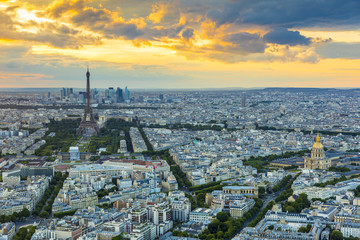 Cityscape of Paris at sunset, France