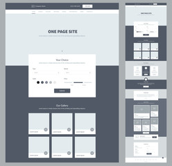 One page website design template for business. Landing page wireframe. Modern responsive design. Ux ui website: home, choice, gallery, features, order, testimonials, news, contacts