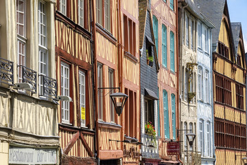 France, Normandy (Normandie), Seine-Maritime department, Rouen. Half-timbered buildings along Rue Martainville.