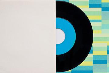 Vinyl Langspielplatte und Platten Cover - Textfreiraum - Farbenfrohes Retro Design