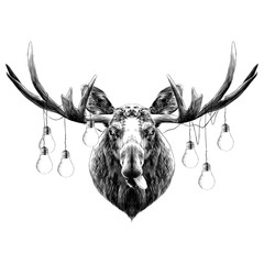 deer head funny with the language sketch vector graphics black and white monochrome