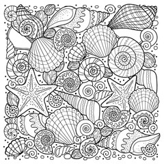 coloring book for adult, for meditation and relax. Round shape of sell, anchors, shells, stones and sand. Black and white image on a white background