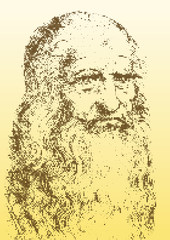 Leonardo Da Vinci portrait, graphic elaboration