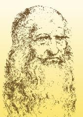 Leonardo Da Vinci portrait, graphic elaboration